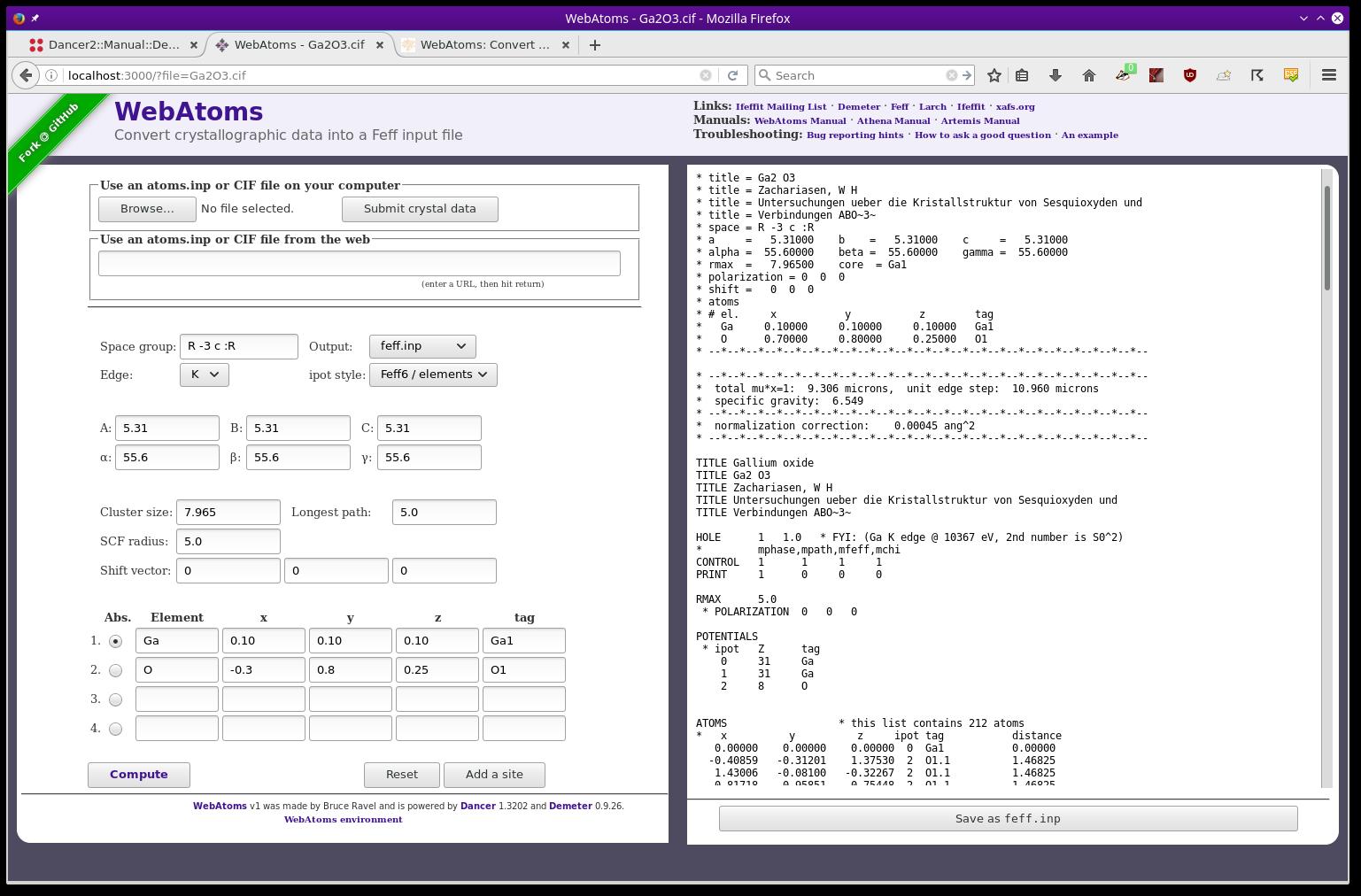 WebAtoms: Convert crystallographic data into a Feff input file